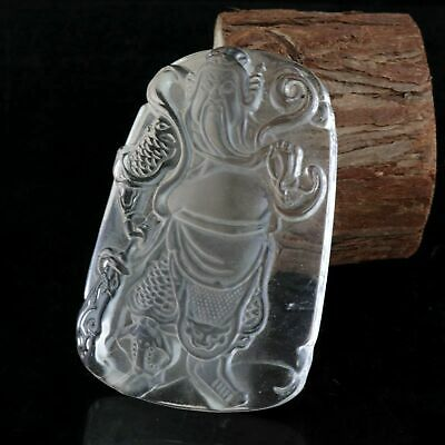 Collectable China Old Crystal Hand-Carved Great General Guan Yu Souvenir Pendant