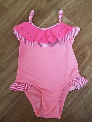 Girls ANGELS 'MONSOON' CORAL PINK SWIMSUIT/SWIMMING COSTUME, AGE 3-4 YEARS. VGC