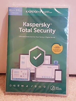 New & Sealed KASPERSKY TOTAL SECURITY 2019 for MULTI-DEVICE 10 USER / (1 YEAR)