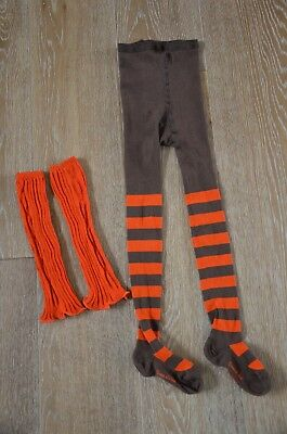 Eliane et Lena Girls Striped Tights and Leg Warmers Size 5-6 NWOT