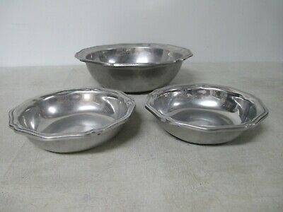 Wilton Columbia Armetale Pewter Queen Anne Serving bowl 10.5 & 2 Cereal Boats