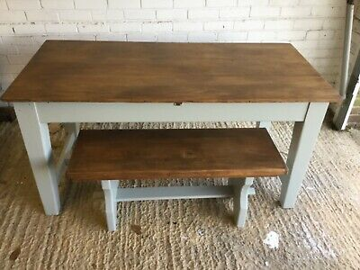 Antique Country Farmhouse Kitchen Table With 2 Deep Drawers