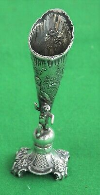 RARE ORNATE FRENCH antique Victorian 1875c STERLING silver SPILL VASE CHERUB DOG