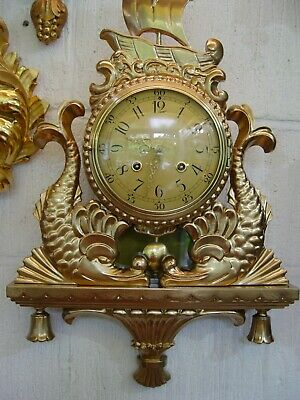 Swedish Westerstrand Gustavian carved,gilded linden wood wall clock