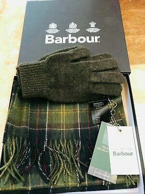 New Barbour Classic Tartan Green 100% Lambswool Scarf & Gloves Set R.r.p. £50