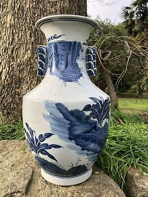 Large Antique Chinese Celadon Ground Blue and White Porcelain Vase 19th C QING
