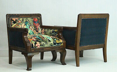 Fabulous Pair of French Art Deco Club Chairs - Linwood Velvet