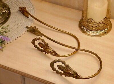 Pair of French ornate antique long tie backs