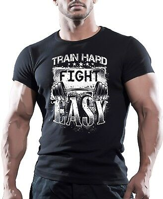 Train Hard Fight Easy Bodybuilding Gym T Shirt Muscle Top Fitness MMA Workout