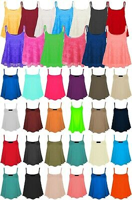 New Womens Strappy Cami Ladies Plus Size Plain / Lace Swing Vest Sleeveless Top