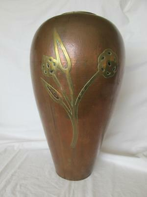 Impressive Arts & Crafts / A&C Large  Beaten / Hammered Copper Vase Brass Flower
