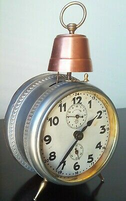 Antique alarm carriage clock Junghans from around 1930's with tall brass bell