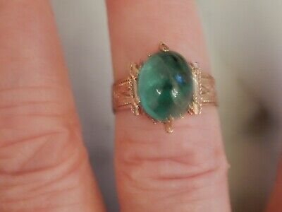 A Beautiful Gold Art Deco Large Cabochon Green Gemstone Ring
