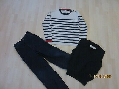 BOY'S 3 ITEM BUNDLE AGE 5/6 Navy Cords, Tank Top, Striped Jumper Joules & Nutmeg