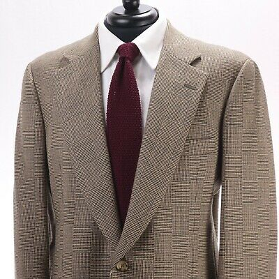 PAUL STUART Light Brown Micro-Houndstooth Wool Sport Coat Made in Canada 42L