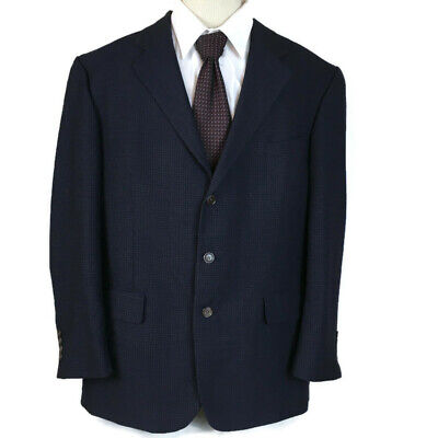 Nautica Men Sport Coat Size 46R Navy Check Worsted Wool 3 Button