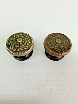 Antique Drawer Pulls Bakelite with Metal Decorative Design Covers Lot of 2