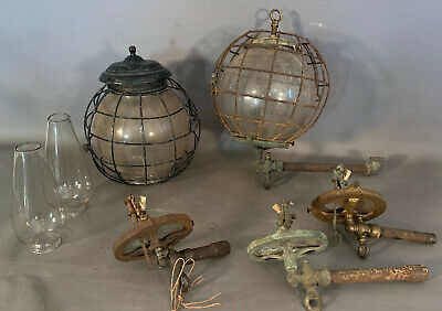 Lot (2) Antique NAUTICAL SALVAGE Old GAS FIXTURE Cage SHIPS LANTERN Sconce LAMP