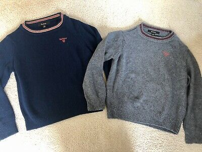 2 X Boys Barbour Jumpers Navy Grey, 6/7/8 Years Medium Size