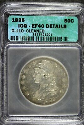 1835 - ICG EF40 DETAILS CLEANED CAPPED BUST Half Dollar! #B18855