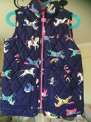 JOULES girls AGE 4 NAVY BLUE PONY QUILTED BODYWARMER pink yellow green PINK ZIP