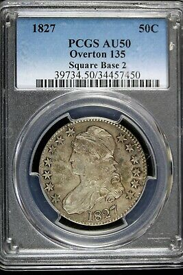 1827 - PCGS AU50 OVERTON 135, SQUARE BASE 2,Capped Bust Half Dollar!!  #B17889