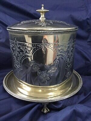 Antique victorian Hukin & Heath silver plated footed biscuit barrel