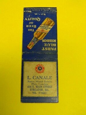 Vintage Pabst Blue Ribbon Beer Matchcover L. Canale Main St. Streator Illinois