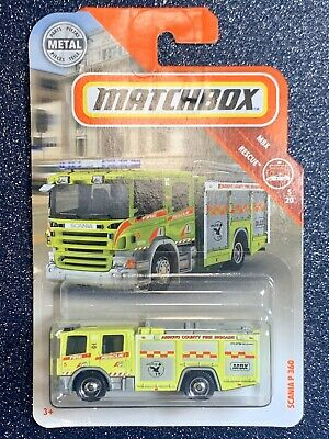 BOX SHIP FREE 2019 Matchbox SCANIA P 360 Fire Rescue Metal MBX RESCUE 5//20