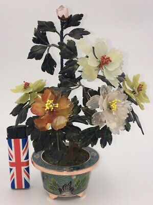 beautiful antique Chinese cloisonne pot with carved jade rose quartz etc flowers