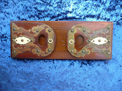 19th CENTURY VICTORIAN WOOD  AND BRASS GOTHIC STYLE SLIDING EXTENDING BOOK SLIDE