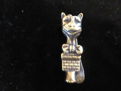 Vintage Brass Door Knocker Smiling Art Deco Cat WIth Bow On A Wall
