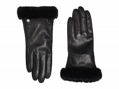UGG 173767 Womens Classic Leather Shorty Tech Winter Gloves Black Size Large