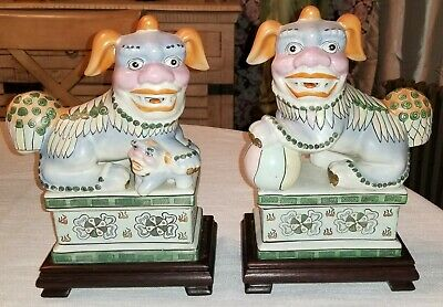 Fu Dogs Foo Dogs Hand Painted With Wood Base