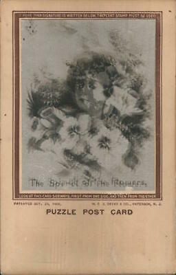 3D Lenticular Puzzle Post Card,The spirit of the flowers. H.C.J. Deeks & Co.