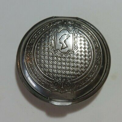 """Vintage 1920s Florian and Armand Silver plated 2"""" Compact w Mirror Empty"""