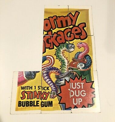 1973 Wacky Packages 4th Series Puzzle Checklist Wormy Packages