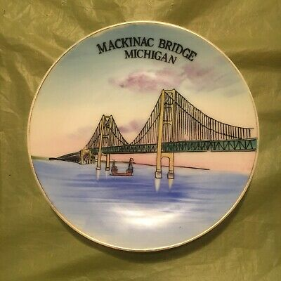 1950's vintage MACKINAC BRIDGE MICHIGAN wall plate-HANDPAINTED made JAPAN--5.5""