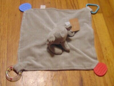 HTF Modern Baby Gray Elephant  Security Blanket Teether and Rattle lovey  NWT