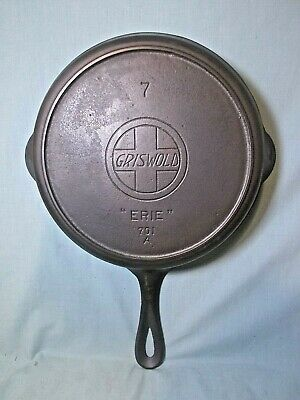 Antique Cast iron Griswold # 7 701A  large slanted logo h/ring  Cleaned/seasoned