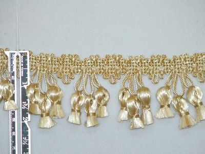 "5 Yards - 2"" Attractive Tassel Fringe Trim Gold Ivory"
