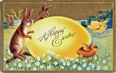 Antique Easter~BUNNY RABBITS & CHICKS w/ BIG YELLOW EGG~GOLD Embossed Postcard