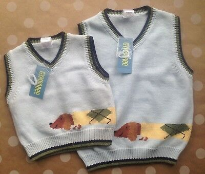 NWT Gymboree COUNTRY CLUB Dachshund Dog Sweater Blue Vest EASTER 6-12 3T