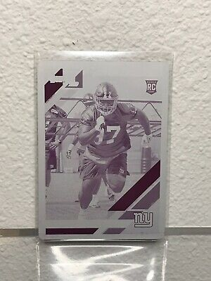 2019 Panini Donruss Football Dexter Lawrence Rookie Magenta Plate 1/1 One Of One