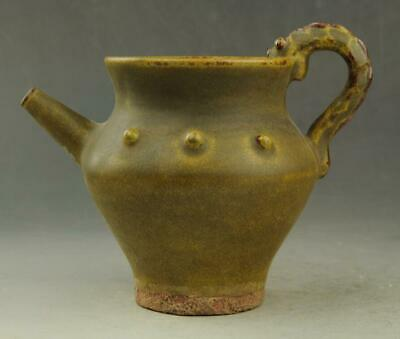 Chinese old hand-carved fambe porcelain green glaze Drum nails teapot  / 9 d01