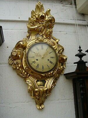 Swedish Gustavian rococo carved gilded linden wood  wall clock