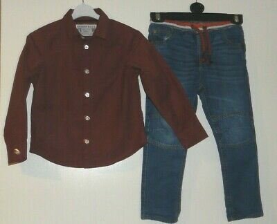 Boys Jeans Age 3-4 Years Comfort Waist Wine Shirt 4-5 Years Matalan