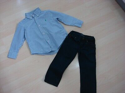 Ralph Lauren Polo Blue Long Sleeved Striped Shirt & Canvas Jeans Age 2 Yrs