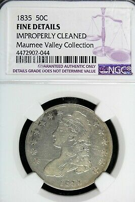 1835 - NGC FINE DETAILS IMPROP CLEANED CAPPED BUST Half Dollar! #B18036