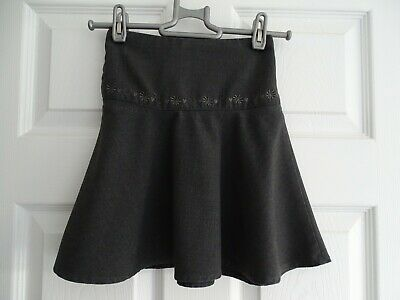 Girl's Grey Embroidered School Skater Skirt from Matalan Age 4 Years